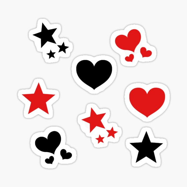 red and black hearts and stars pack Sticker
