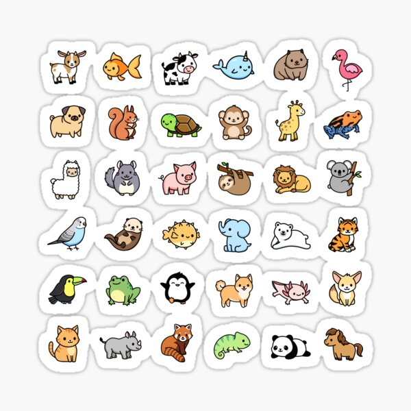 "*choose large in sticker!"" Mega Cute Animals Sticker"