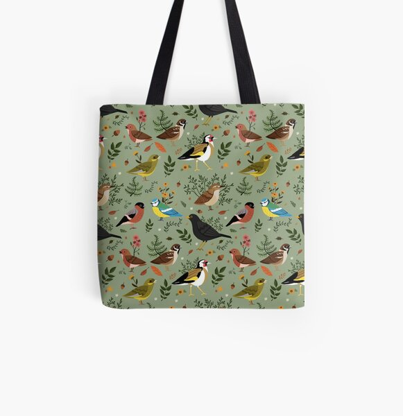 Garden Birds All Over Print Tote Bag