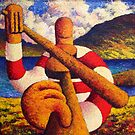 Fiddle player  in landscape( impasto) acrylic 12x12 in. by Alan Kenny