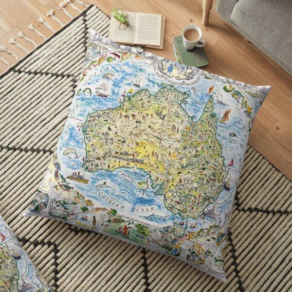 Antique Map of Australia, Patriotism and Resources Floor Pillow