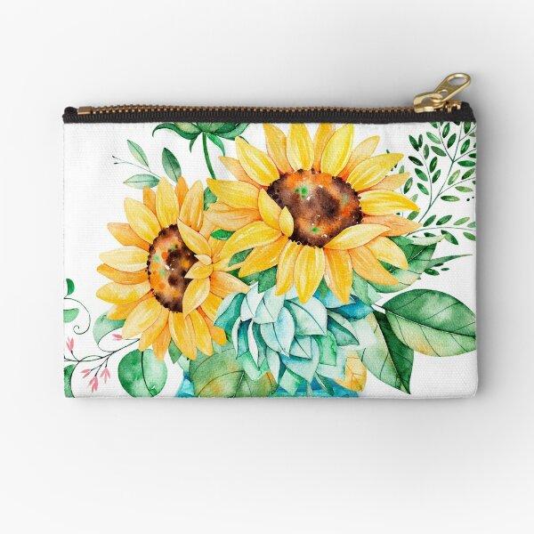 Sunflowers, Mason jar, sunflower bouquet, watercolor, watercolor sunflowers Zipper Pouch