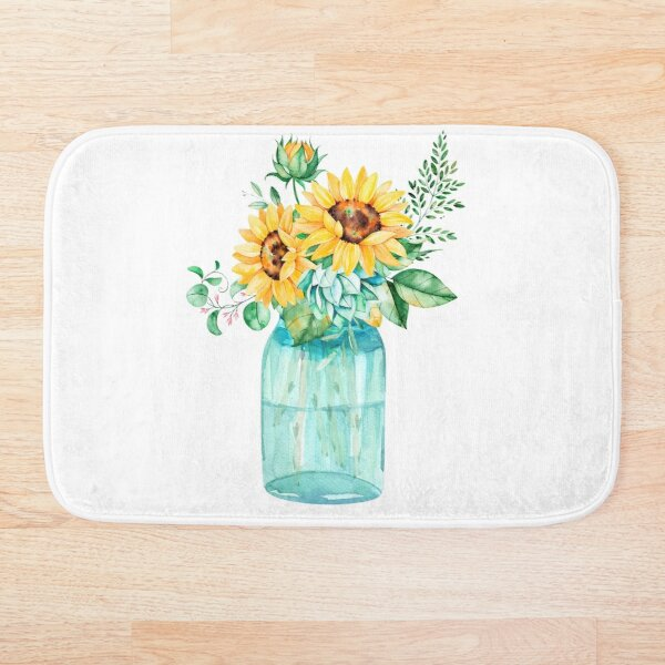 Sunflowers, Mason jar, sunflower bouquet, watercolor, watercolor sunflowers Bath Mat