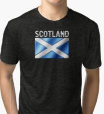 Scotland - Scottish Flag & Text - Metallic Tri-blend T-Shirt