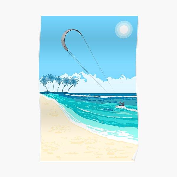 Kitesurfing summer watersport poster  Poster