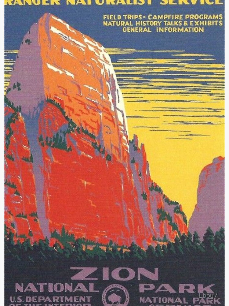 Zion National Park Vintage Poster Art Board Print By Lboy7 Redbubble