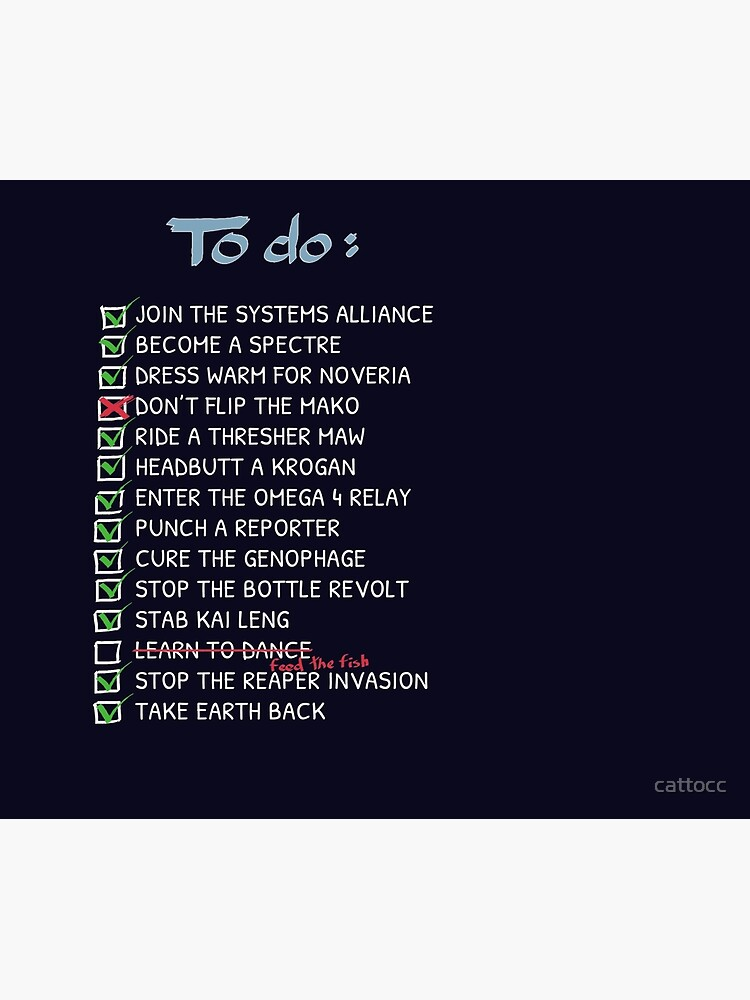 Commander Shepards To-Do List by cattocc