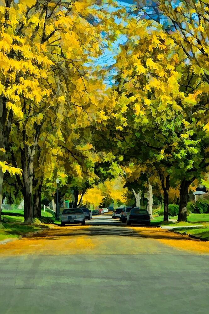 Neighborhood in Autumn by Joy  Rector