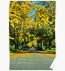 Neighborhood in Autumn Poster