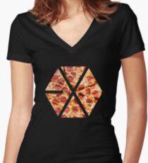 Pizza Exo Women's Fitted V-Neck T-Shirt