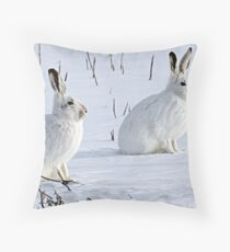 Hare There! North American Snowshoe Hare Throw Pillow