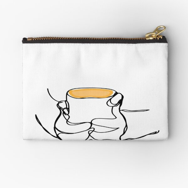 one line of  hand holding coffee  Zipper Pouch