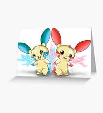 Pokemon: Plusle and Minun Attack Together! Greeting Card