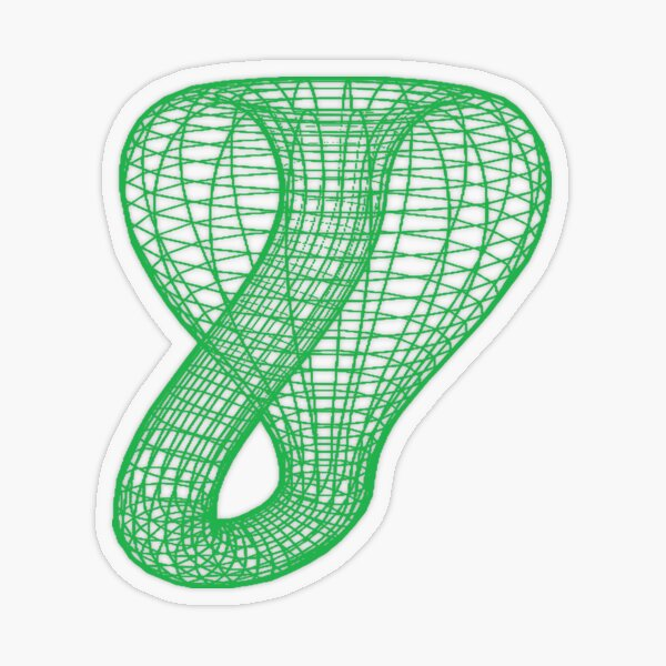 Two-dimensional representation of the Klein bottle immersed in three-dimensional space, #TwoDimensional, #representation, #KleinBottle, #immersed, #ThreeDimensional, #space Transparent Sticker