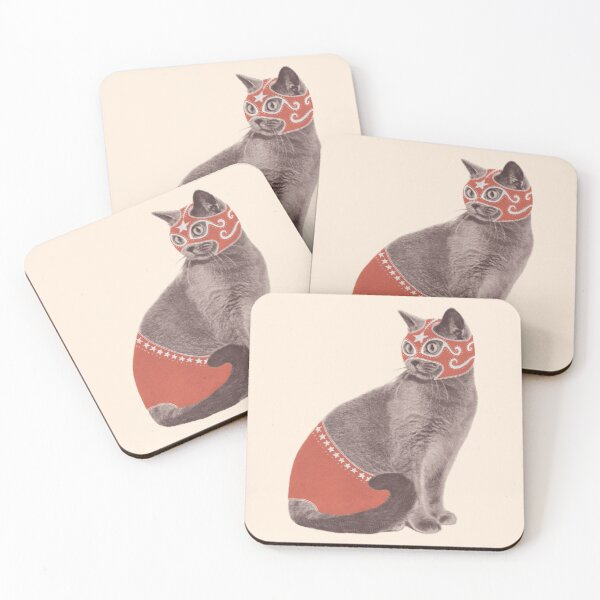 Cat Wrestler Coasters (Set of 4)