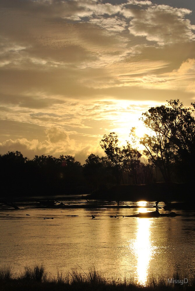 Golden Sunset Sky Murray River by MissyD