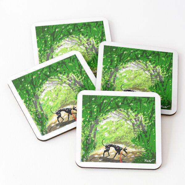 Woodland Shade Hound Coasters (Set of 4)