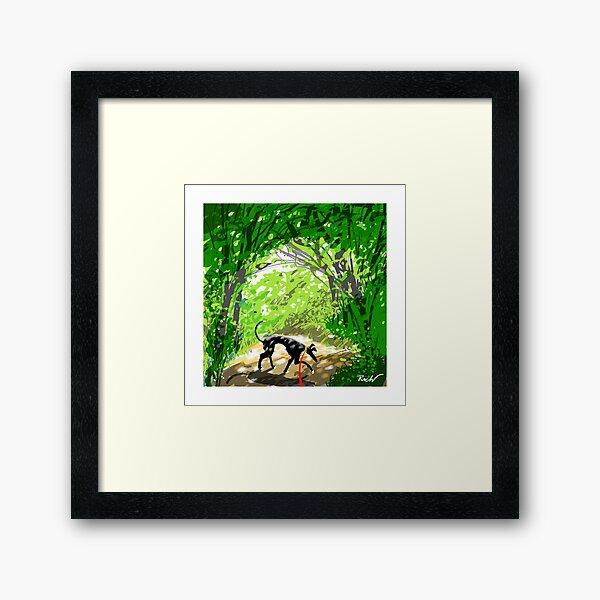 Woodland Shade Hound Framed Art Print