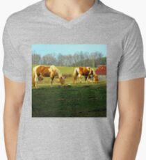grazing horses Men's V-Neck T-Shirt