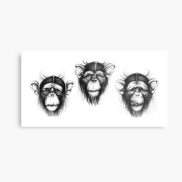 Three Monkeys (Saints drawing series) Metal Print