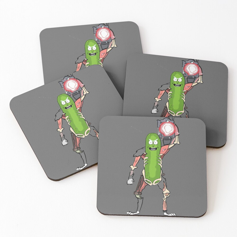 Pickle Rick with the Laser Blaster Coasters (Set of 4)