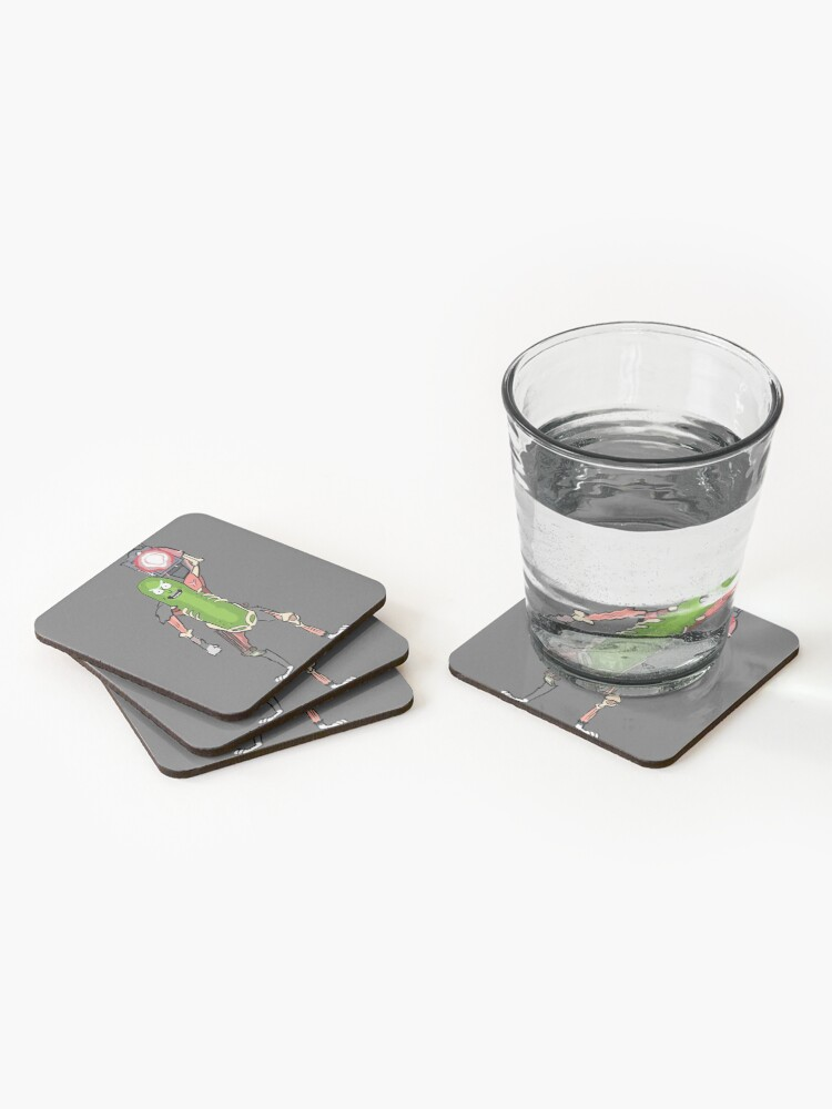 Alternate view of Pickle Rick with the Laser Blaster Coasters (Set of 4)