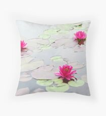 Water Lilies in the Morning Throw Pillow