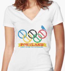 Portland Nolympics Women's Fitted V-Neck T-Shirt