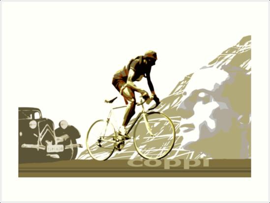 retro FAUSTO COPPI Tour de France cycling poster by SFDesignstudio
