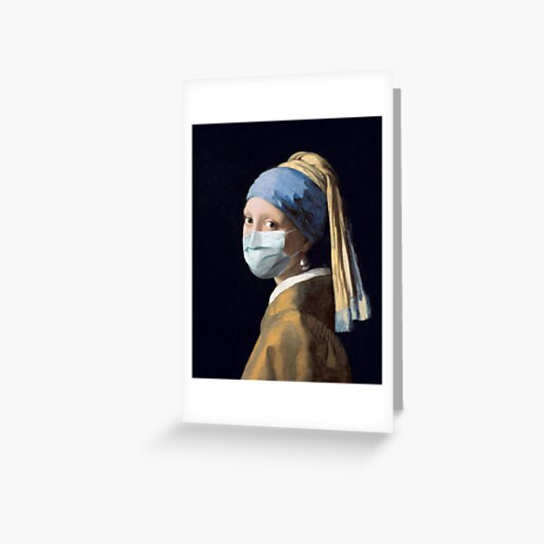 Coronavirus Girl with a Pearl Earring Greeting Card