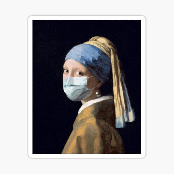 Coronavirus Girl with a Pearl Earring Sticker
