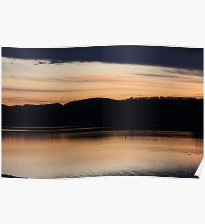 Sunset at the reservoir Poster