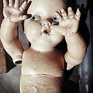 """I see you"" Creepy Scared Doll with Hands Up by ashley hutchinson"