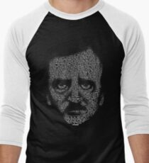 Edgar Allan Poe Nevermore Text Portrait Men's Baseball ¾ T-Shirt
