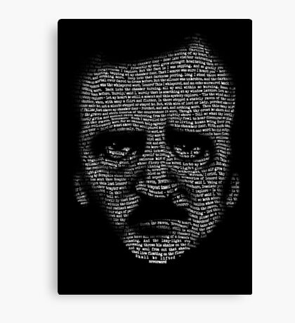 Edgar Allan Poe Nevermore Text Portrait Canvas Print