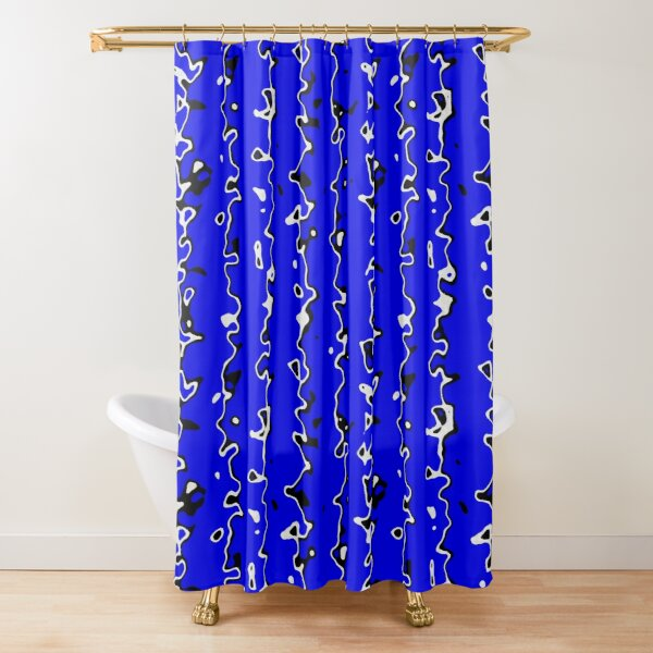 Irregular lines, blue background,spots Shower Curtain