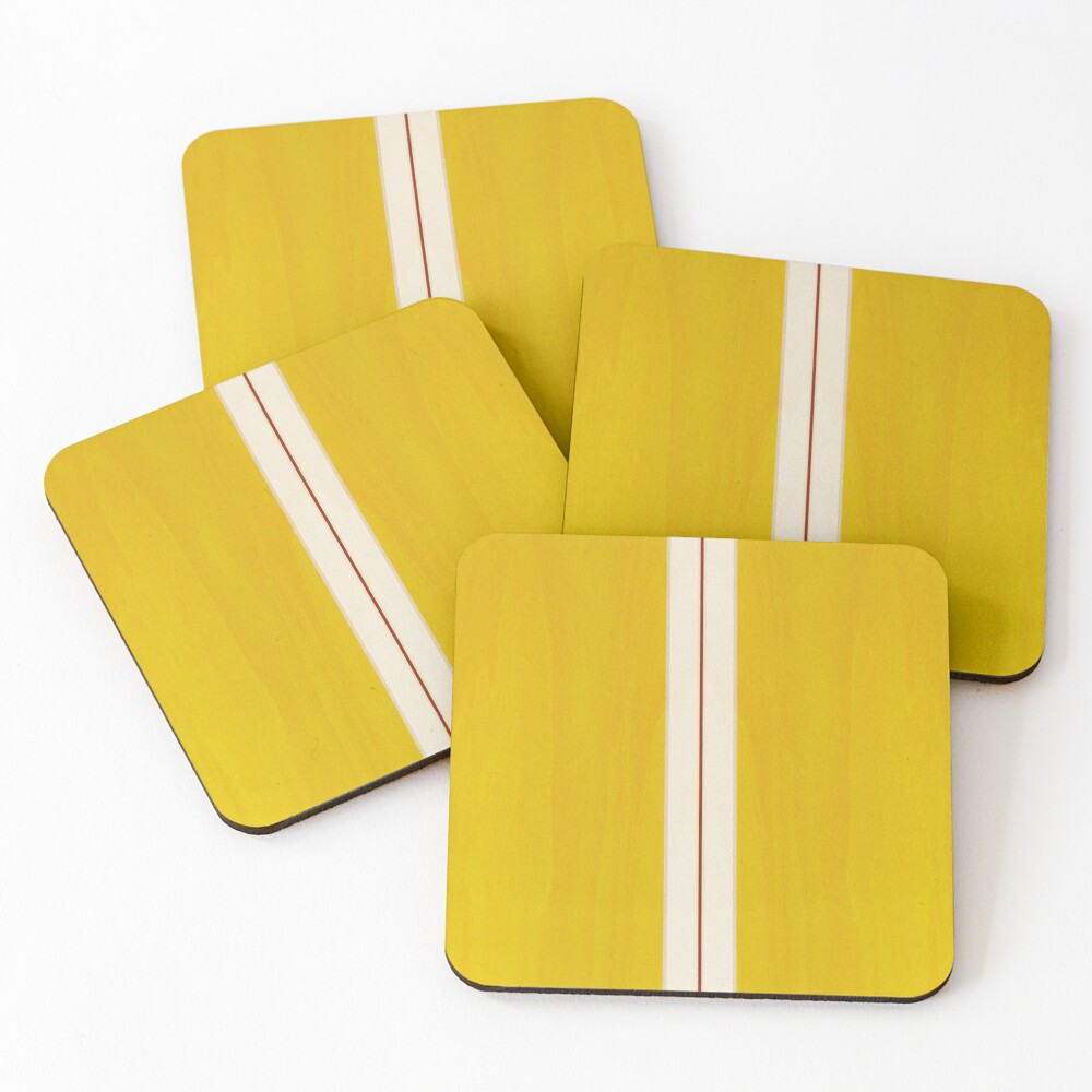 Yellow Vintage Surfboard Coasters (Set of 4)