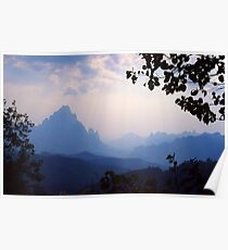 Misty mountains, Laos. Poster