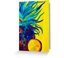 Blue Pineapple Abstract Greeting Card