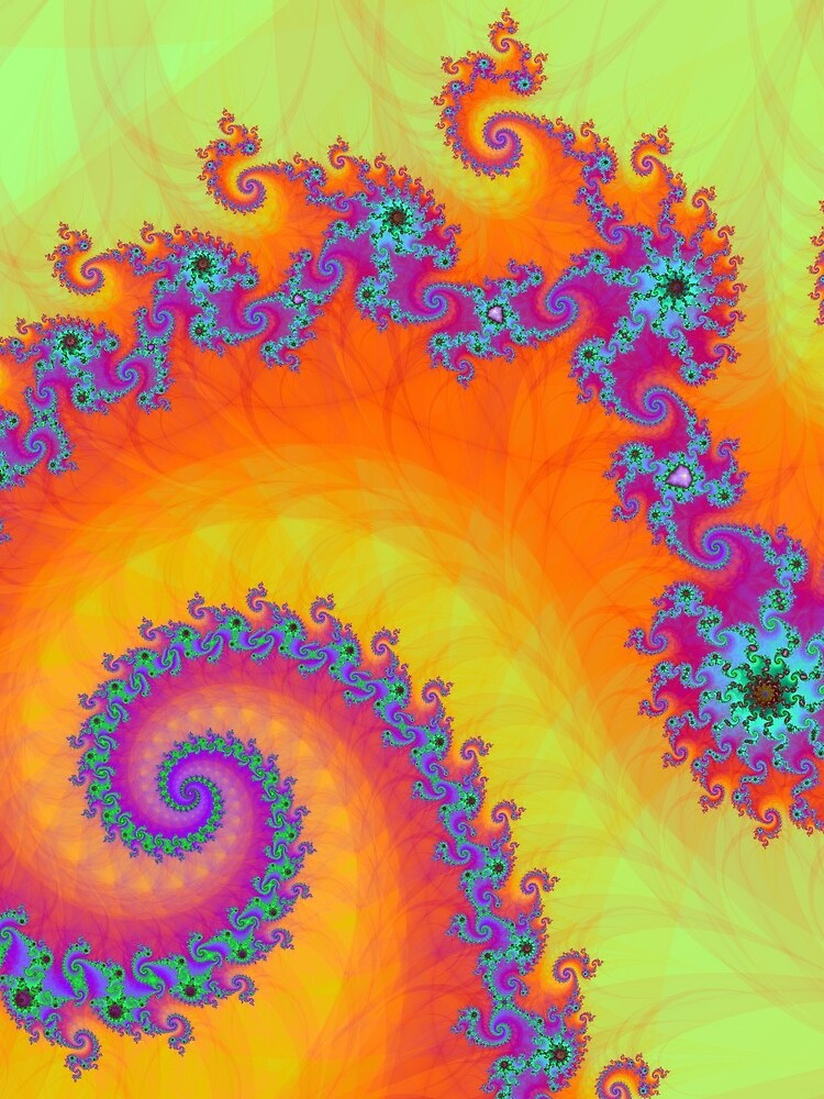 Bright Mandelbrot Fractal Spiral by sciencenotes
