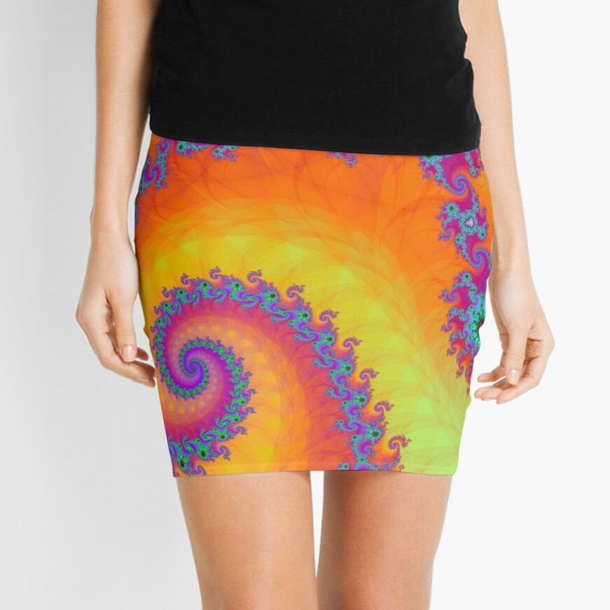 Bright Mandelbrot Fractal Spiral Mini Skirt
