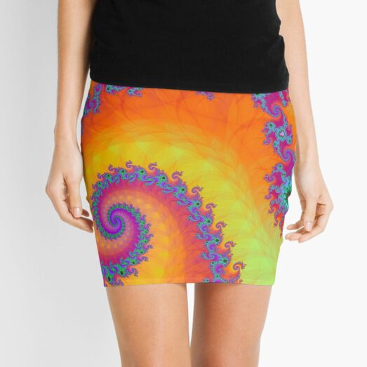 Bright Mandelbrot Fractal Spiral Mini Skirt