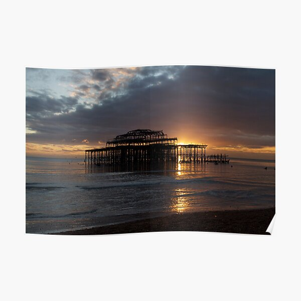 Derelict West Pier Brighton Sunset Canvas Wall Art Picture Print