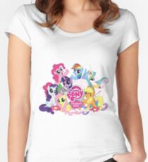 My Little Pony Mane6 and Logo Women's Fitted Scoop T-Shirt
