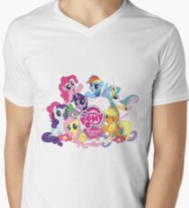 My Little Pony Mane6 and Logo Men's V-Neck T-Shirt