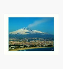 Catania. Beach, City and Etna Art Print