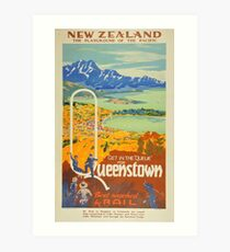 Vintage Queenstown New Zealand Travel Art Print