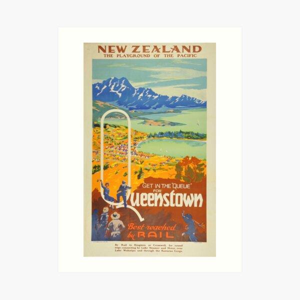 Vintage Queenstown New Zealand Travel Art Print