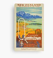 Vintage Queenstown New Zealand Travel Canvas Print