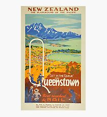 Vintage Queenstown New Zealand Travel Photographic Print